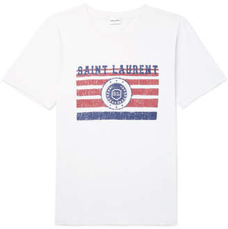 Saint Laurent Distressed Printed Cotton-Jersey T-Shirt