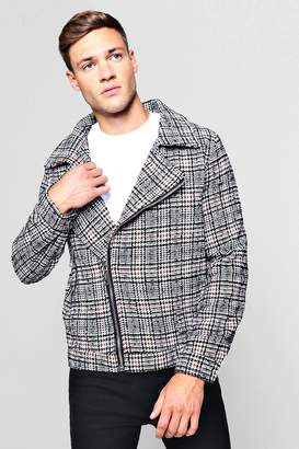 boohoo Wool Blend Check Biker Jacket