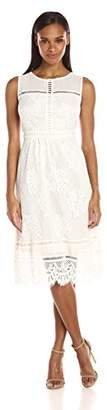 Jax Women's Sleeveless Midi Length Lace Dress with Illusion Neckline