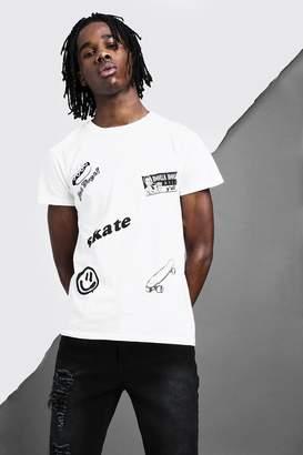 boohoo Crew Neck Badge Design T-Shirt