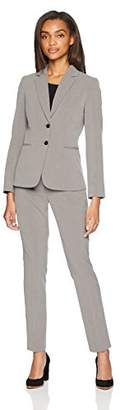 Tahari by Arthur S. Levine Women's Two Button Pinstripe Turn UP Leather Trim Pant Suit
