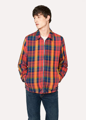 Paul Smith Men's Red And Orange Check Cotton Jacket