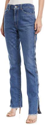 Jonathan Simkhai Stapled Side-Split Stovepipe Jeans