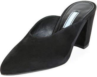 Prada 65mm Block-Heel Dipped Suede Mule