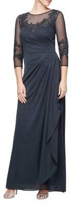 Alex Evenings Embroidered Illusion Long A-Line Dress
