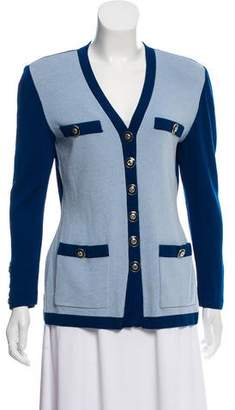 St. John Bicolor Long Sleeve Cardigan