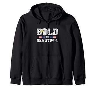 Bald Is Beautiful American Patriotic Eagle 4th of July Gift Zip Hoodie