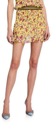 For Love & Lemons Odette Floral Smocked Mini Skirt