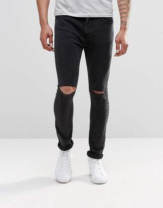 Pull&Bear Super Skinny Jeans In Washed Black With Knee Rips $31 thestylecure.com