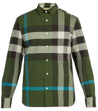 Burberry Windsor Oversized Check Cotton Blend Shirt - Mens - Green Multi