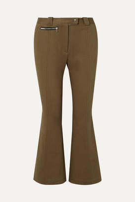 Proenza Schouler Cropped Cotton-blend Twill Flared Pants - Army green