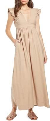 THE ODELLS Flutter Sleeve Maxi Dress