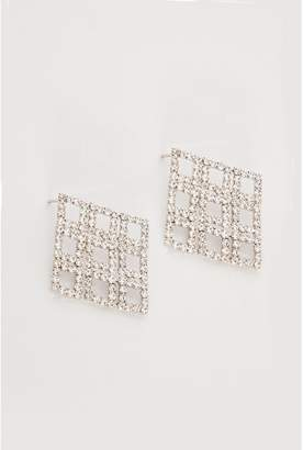Quiz Silver Diamond Shape Diamante Earrings