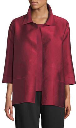 Caroline Rose Zen Garden Bracelet-Sleeves Swirl-Stitch Jacquard Shirt-Style Jacket, Plus Size