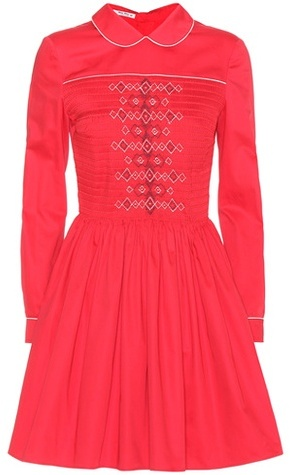 Miu Miu Miu Miu Smocked cotton dress