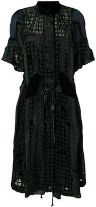 Sacai grid burnout pleated dress