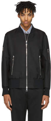 Neil Barrett Black Satin Bomber Jacket