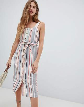 New Look Linen Stripe Button Through Dress