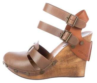 See by Chloe Leather Round-Toe Wedges