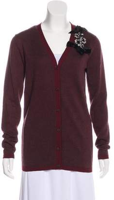 Prada Embellished Long Sleeve Cardigan