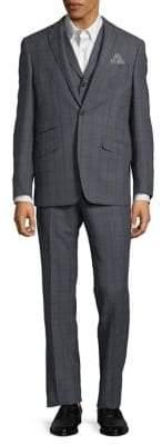 Tallia Orange Windowpane Wool Suit