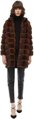 Simonetta Ravizza Zipped Mink Coat W/ Hood