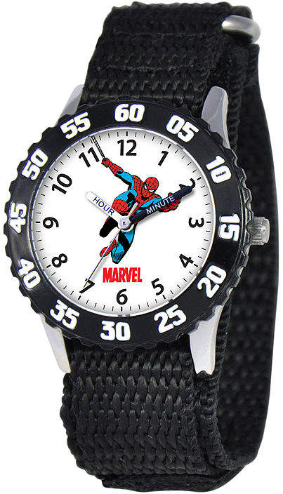 MARVEL Marvel Spiderman Time Teacher Kids Black Fast Strap Watch