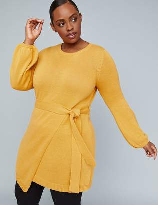 Lane Bryant Girl With Curves Belted Wrap-Hem Sweater