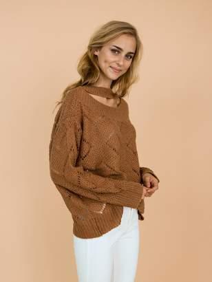 Goodnight Macaroon 'Silvia' Brown Eyelet Choker Neck Knitted Lightweight Sweater