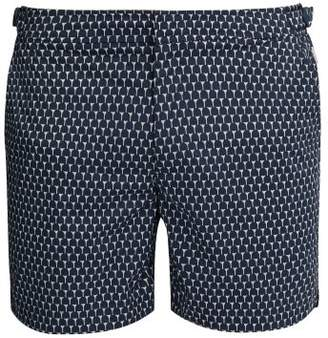 Orlebar Brown Bulldog Sport Cerchio Print Swim Shorts - Mens - Navy