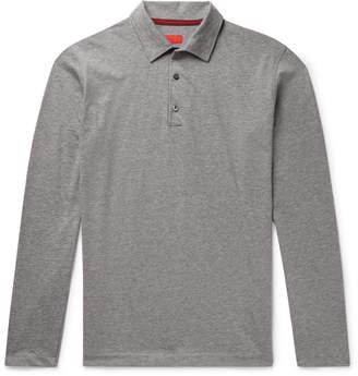 Isaia Melange Cotton-Jersey Polo Shirt - Men - Gray