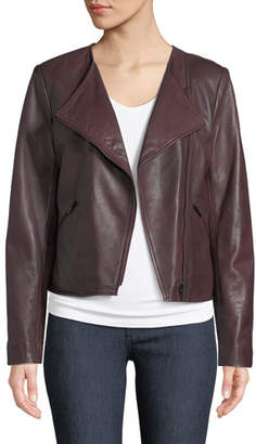 Neiman Marcus Leather Collection Asymmetric-Zip Lamb Leather Moto Jacket