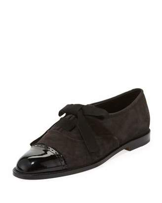 Manolo Blahnik Andare Suede/Patent Oxford Flat