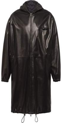 Prada reversible hooded leather coat
