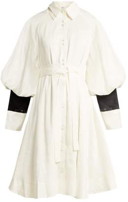 Aje - Bligh Balloon Sleeve Linen Blend Shirtdress - Womens - White Black