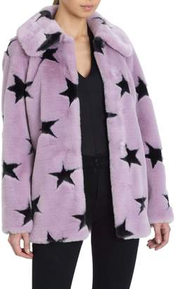 AVEC LES FILLES Star-Patterned Faux-Fur Swing Coat