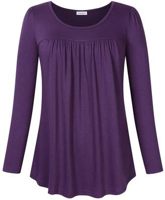 Clearlove Scoop Neck Loose Tops for Women Long Sleeve Shirt Casual Top Blouse Plus Size Pleated Solid Tunic Shirt - (3XL, )