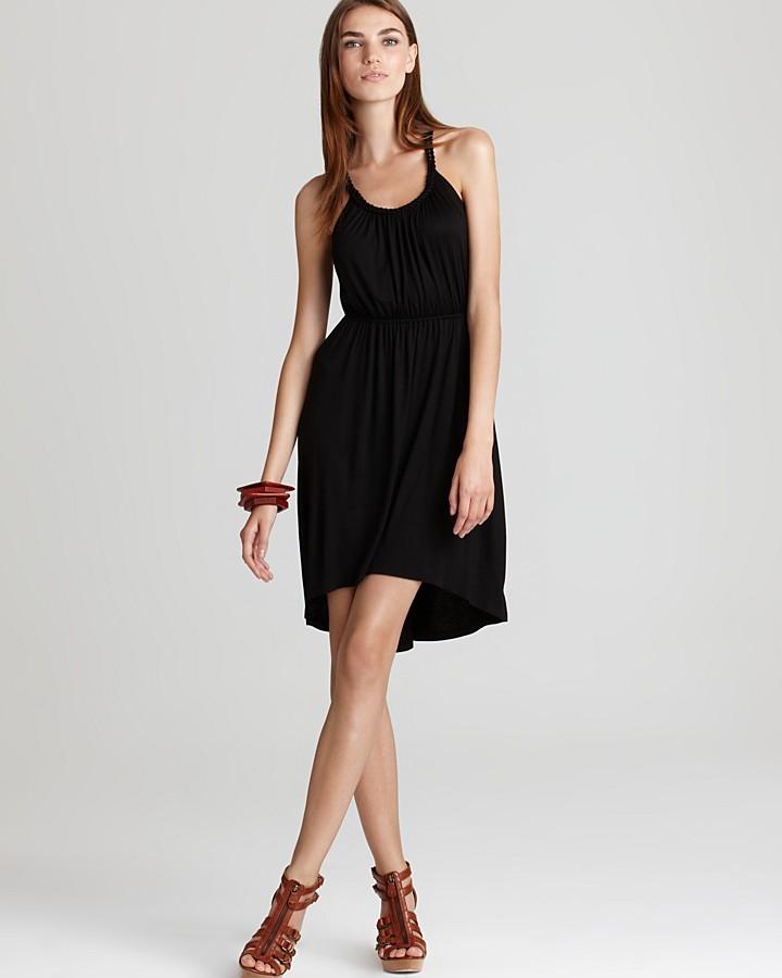 Aqua Sleeveless Braided Strap High/Low Dress