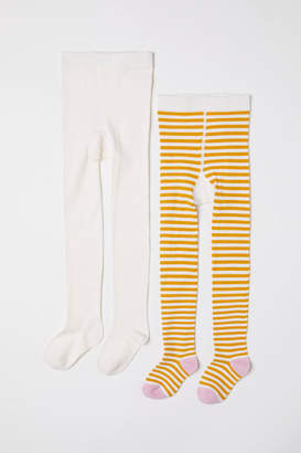 H&M 2-pack Fine-knit Tights - Yellow