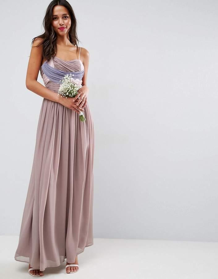Asos Wedding Ruched Colour Block Maxi Dress