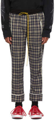 BEIGE Rhude and Blue Check Pajama Trousers