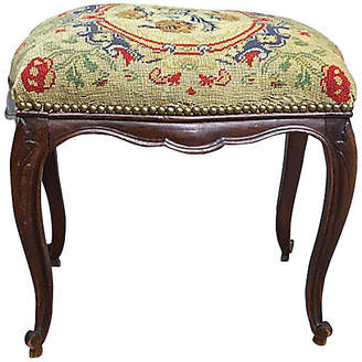 One Kings Lane Vintage French Floral Petit Point Footstool