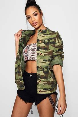 boohoo Oversized Acid Wash Camo Denim Jacket