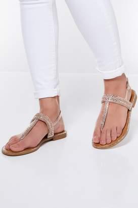 a5ae172963f2b3 Gold Diamante Flat Sandals - ShopStyle UK