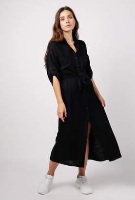 Azalea Button Down 3/4 Sleeve Midi Dress w/ Slit