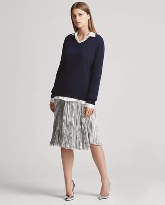 Ralph Lauren Kiernan Pleated Lame Skirt