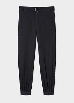 Men's Tapered-Fit Black Belted Wool Trousers