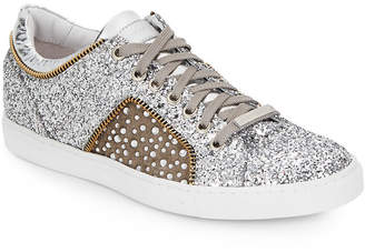 Alessandro Dell'Acqua Alessandro Dell''acqua Glitter Leather Lace-Up Sneaker