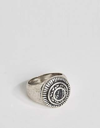 Asos Embellished Signet Ring With Black Look Stone