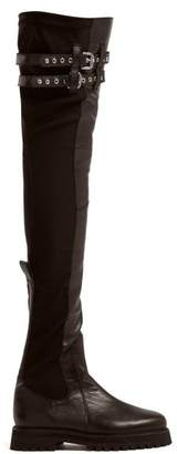 Marques Almeida Marques'almeida - Leather Over The Knee Boots - Womens - Black
